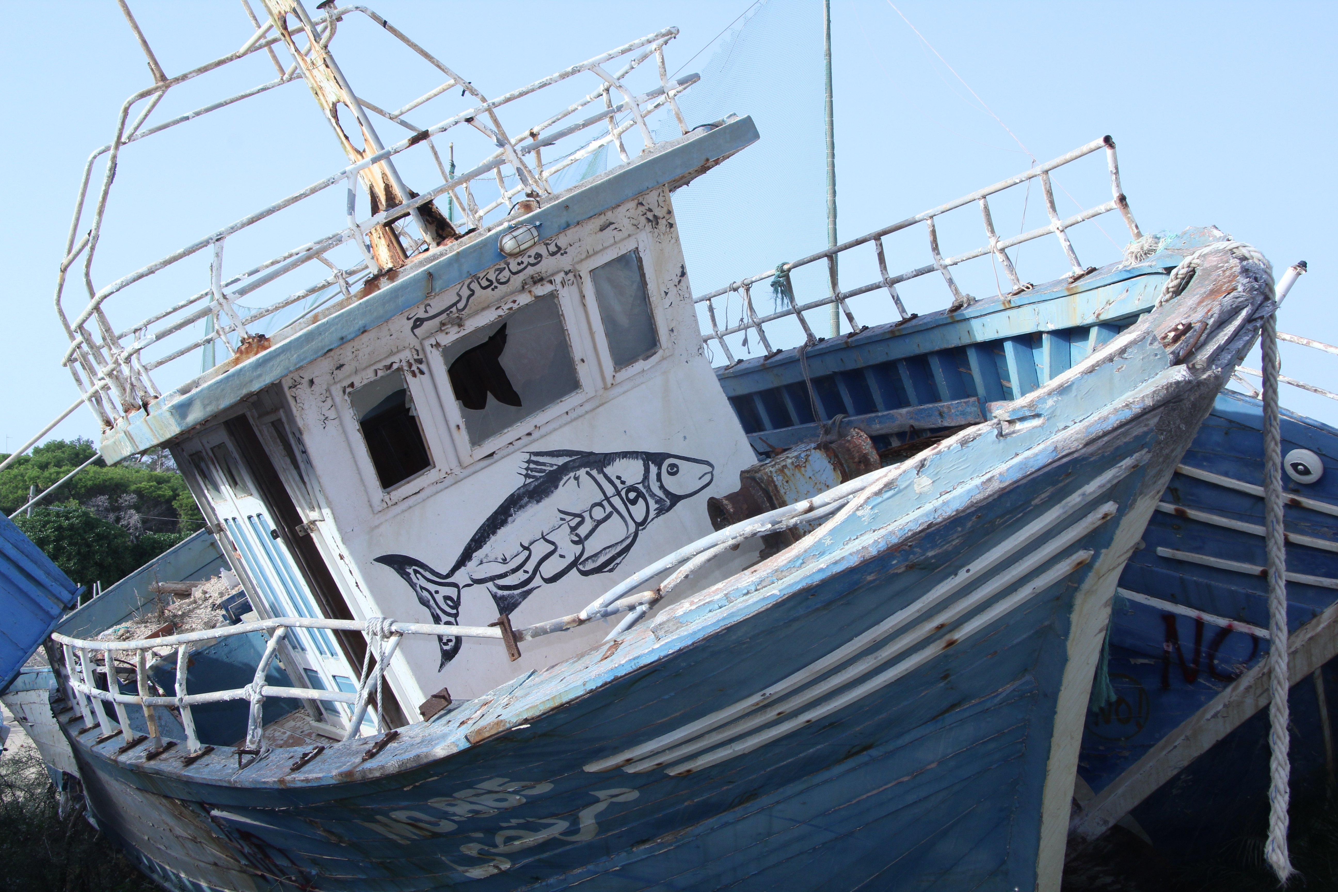 Flüchtlingsboot auf Lampedusa